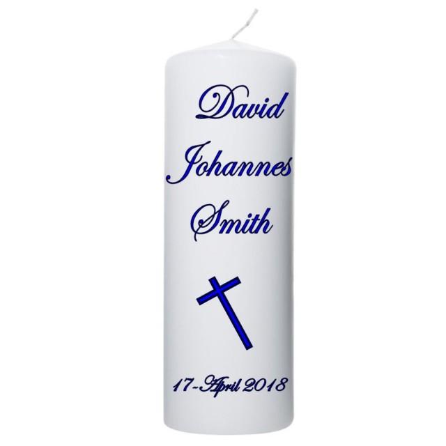 Doopkaars met naam,doopdatum en kruis