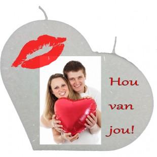 Valentijn hartkaars groot - Hou van jou (met foto)