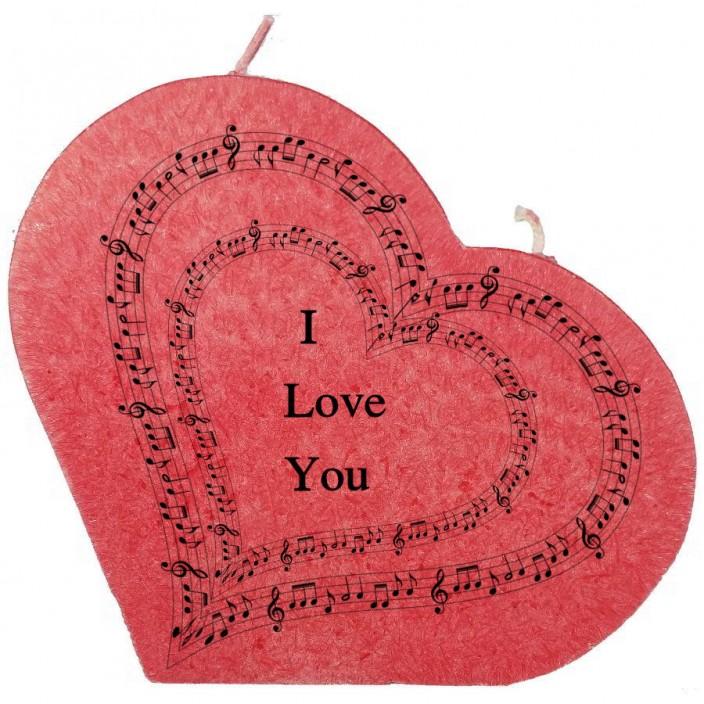 Valentijn hartkaars groot - I love you