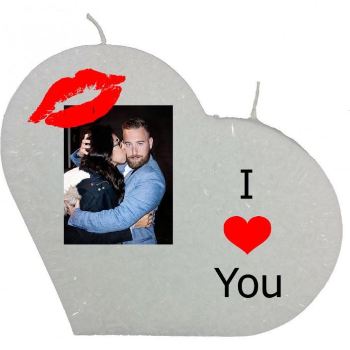 Valentijn hartkaars groot - I love you (met foto)