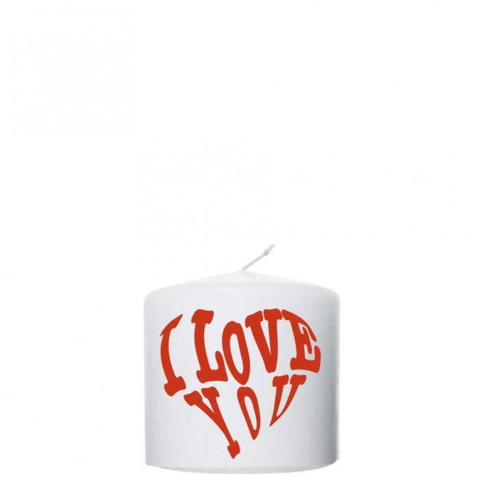 Valentijn kaars 100x100 - I love you
