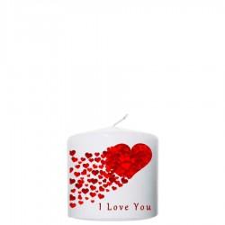 Valentijn kaars 100x100 - I love you  (met hart)