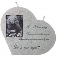 "Rouwkaars - Ter herinnering ""met Foto"" - hartkaars 180x20x170"