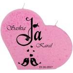 Trouwkaars JA lovebirds op een grote hartkaars - roze