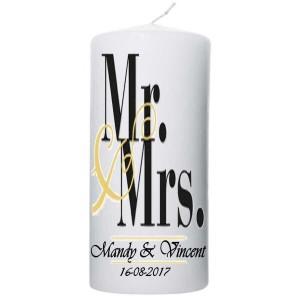 Trouwkaars Mr & Mrs