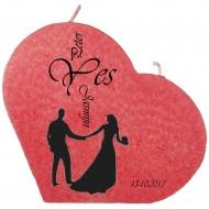Trouwkaars YES op een grote hartkaars - rood