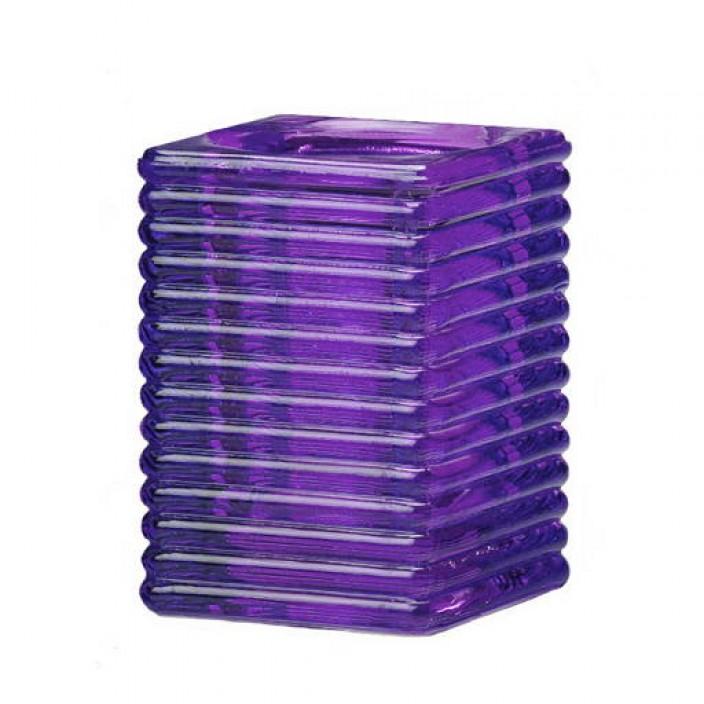 Vierkant ribbelglas voor refills (paars)