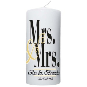 Trouwkaars Mrs & Mrs