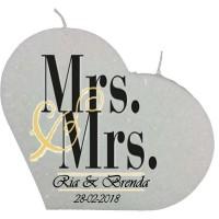 Trouwkaars MRS&MRS op een grote hartkaars - wit