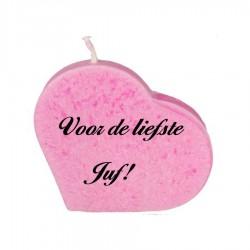 Liefste juf-  roze hartkaars