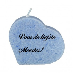 Liefste meester -  blauwe hartkaars