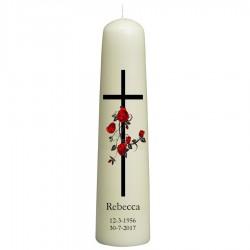 Rouwkaars - kruis met rozenkrans - dompelkaars 70x350
