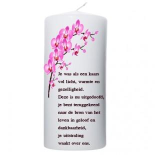Rouwkaars - roze orchideeën -100x200