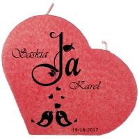 Trouwkaars JA lovebirds op een grote hartkaars - rood