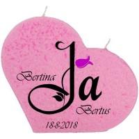 """Trouwkaars """"JA"""" op een grote hartkaars - roze"""
