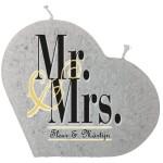 Trouwkaars MR&MRS op een grote hartkaars - grijs