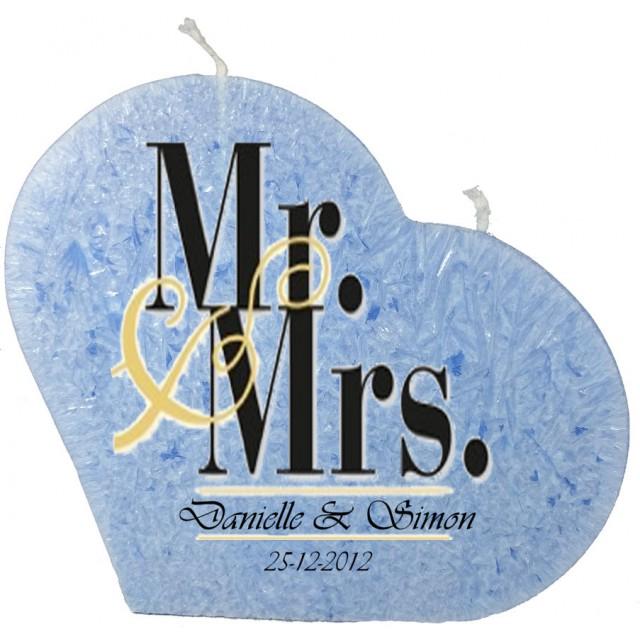 Trouwkaars MR&MRS op een grote hartkaars - lichtblauw