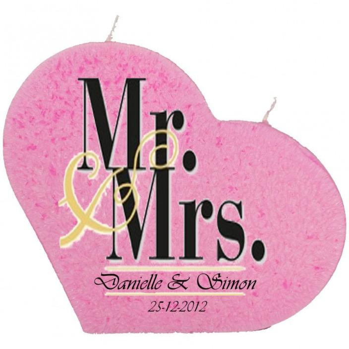 Trouwkaars MR&MRS op een grote hartkaars - roze