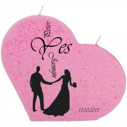 Trouwkaars YES op een grote hartkaars - roze