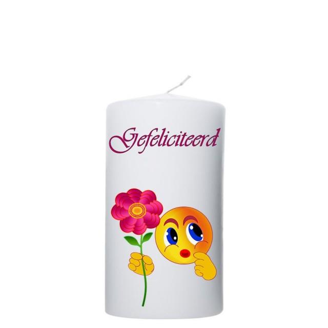 Gefeliciteerd - bloem/smiley 80x150