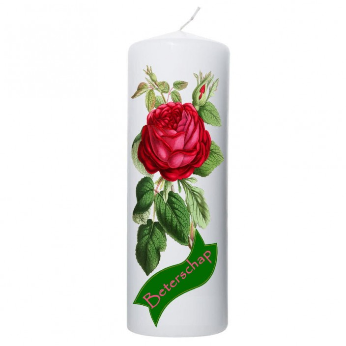 Beterschap kaars rode roos