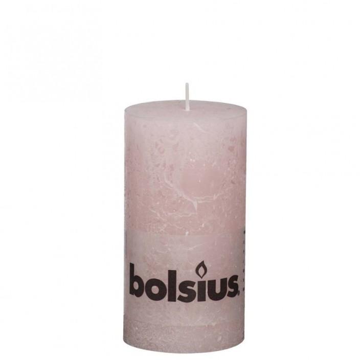 Bolsius rustieke stompkaars Pastelroze 130x68