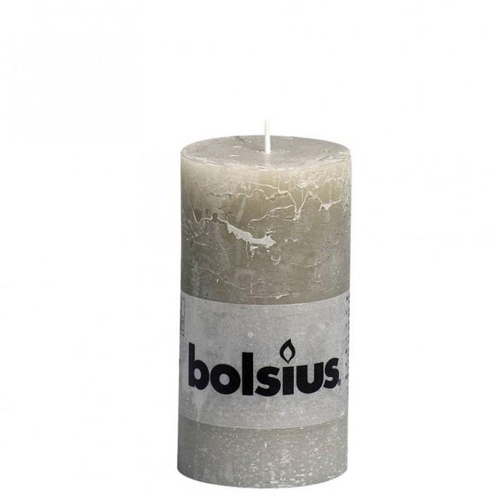 Bolsius rustieke stompkaars Kiezelgrijs 130x68