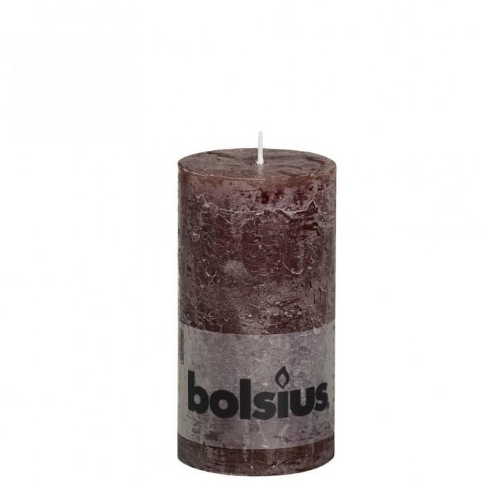 Bolsius rustieke stompkaars Chocolade bruin 130x68