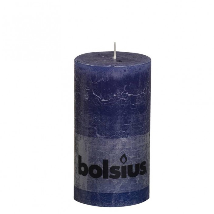 Bolsius rustieke stompkaars Donker blauw 130x68