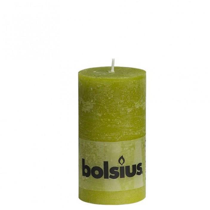 Bolsius rustieke stompkaars Groen 130x68