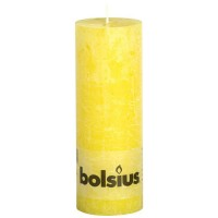 Bolsius rustieke stompkaars Zonnegeel 190x68