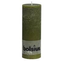 Bolsius rustieke stompkaars Olijfgroen 190x68
