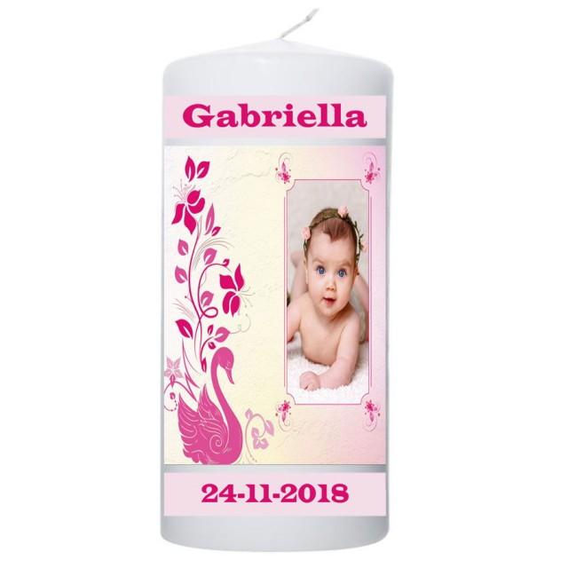 Geboortekaars roze zwaan met foto