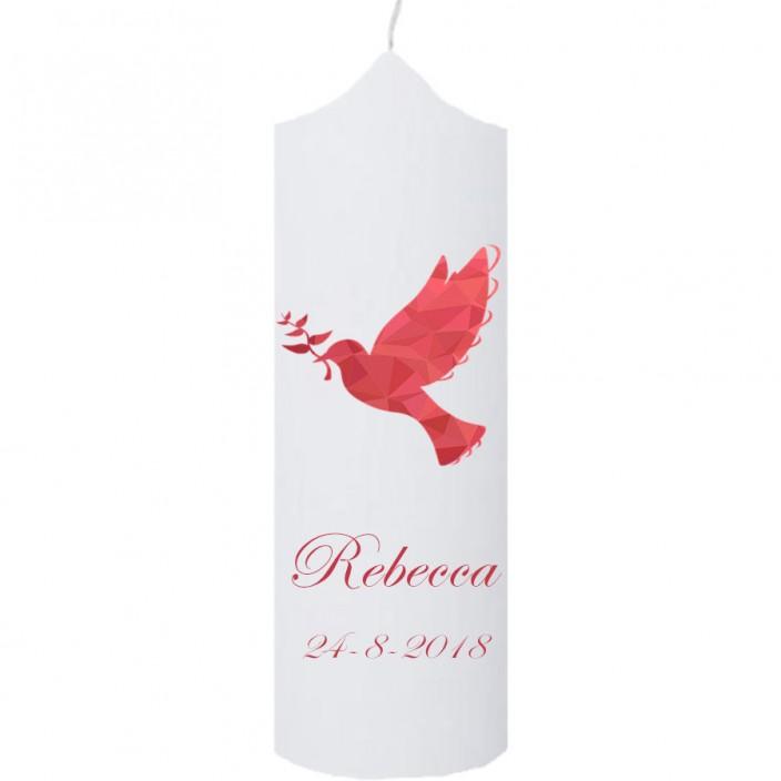 Doopkaars duif rood (klokkaars)