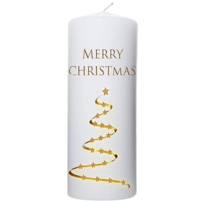 goudkleurige  kerstboom met sterren 80x250