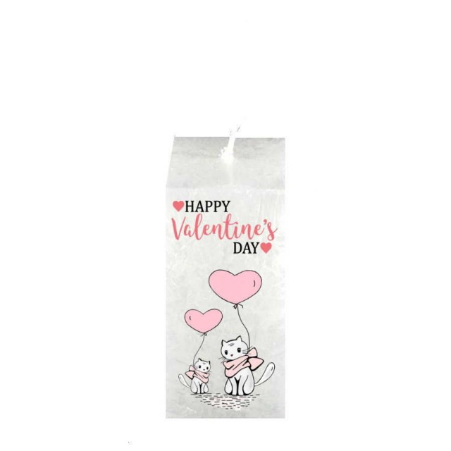 Valentijn kaars vierkant - Poes Happy valentine`s Day