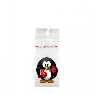 Valentijn kaars vierkant - Pinguïn Happy valentine`s Day