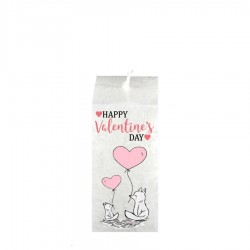 Valentijn kaars vierkant - Vos Happy valentine`s Day