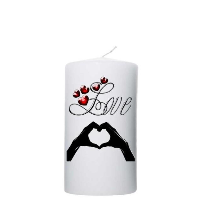 Valentijn kaars 80x150 - Hart van vingers