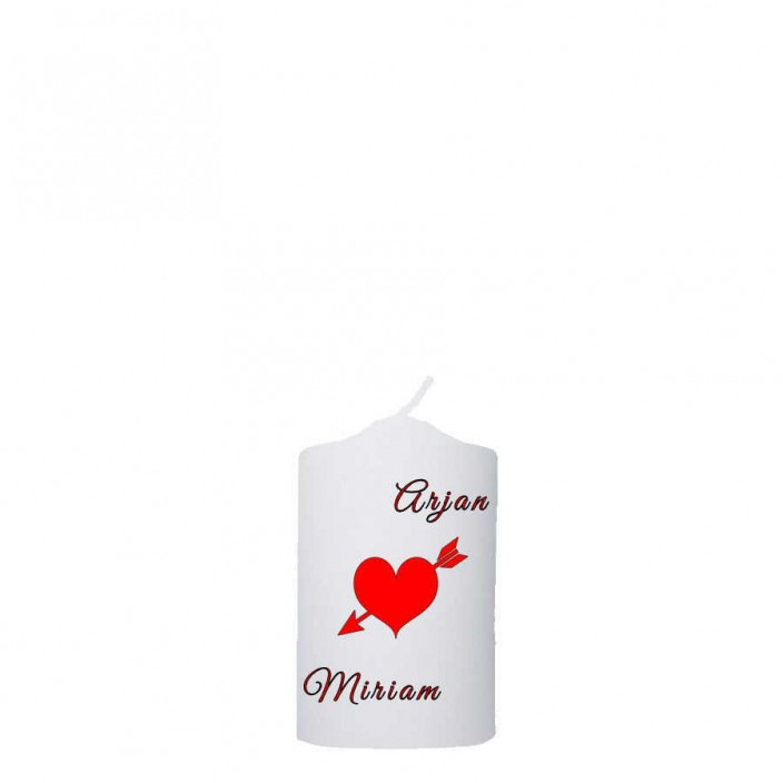 Valentijn kaars 48x100 -  Hart met pijl(namen)