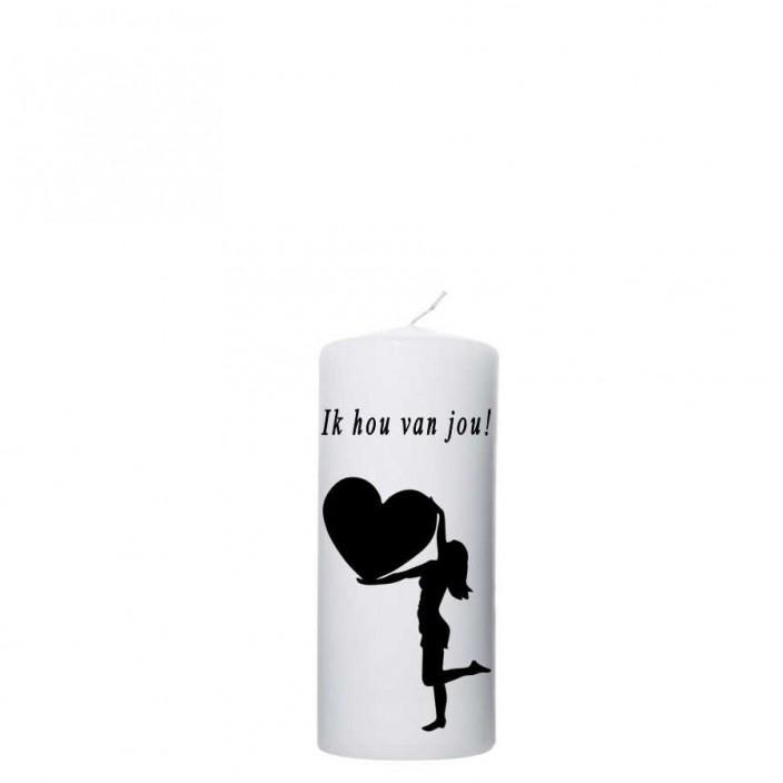 Valentijn kaars 60x120 - Ik hou van Jou