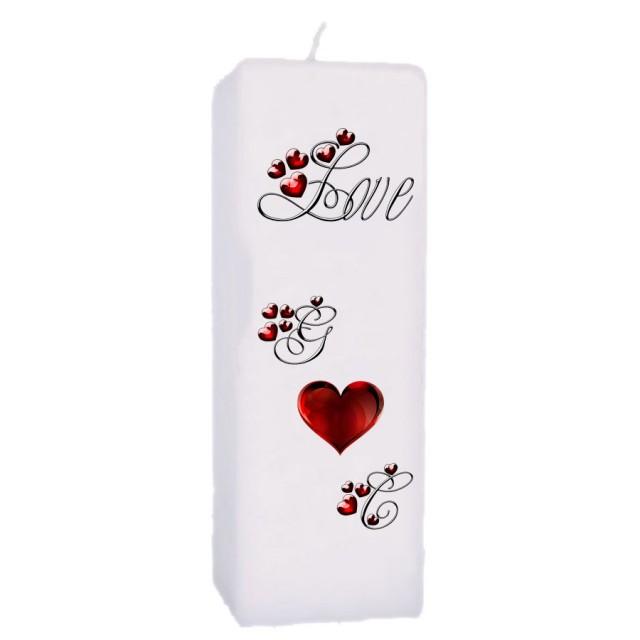 Valentijn kaars 70x70x200 - Love met initialen