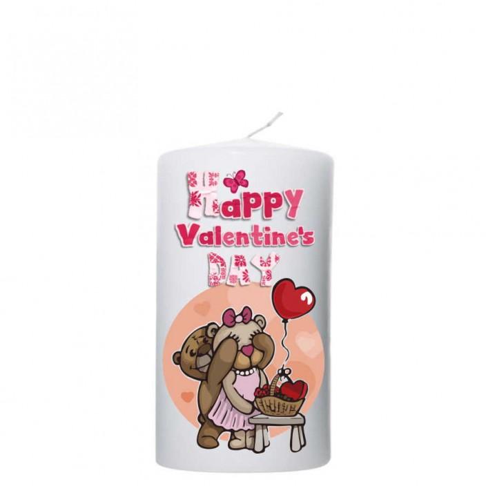 Valentijn kaars 80x150 - Happy Valentine`s Day -Beren