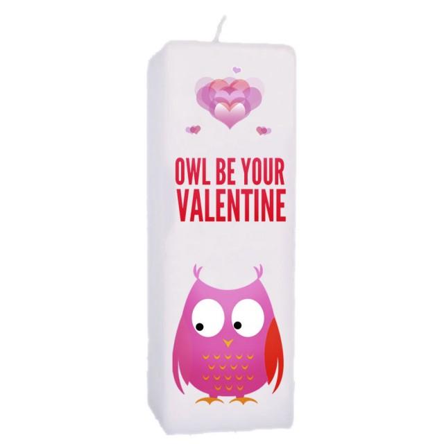 Valentijn kaars 70x70x200 - Owl be your valentine