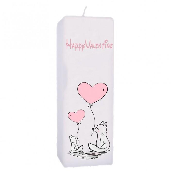 Valentijn kaars 70x70x200 - Happy valentine - vosjes