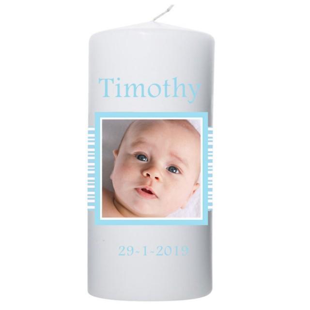 Geboortekaars baby blauwe strepen met Foto