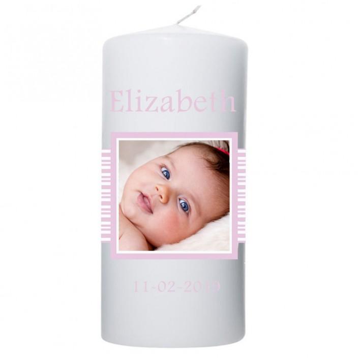 Geboortekaars baby roze strepen met Foto