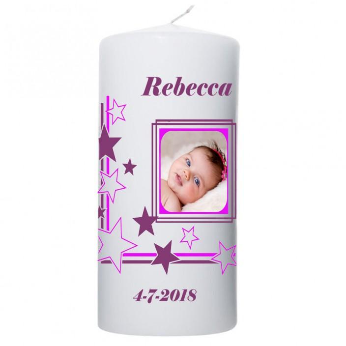 Geboortekaars kader sterren paars 100x200