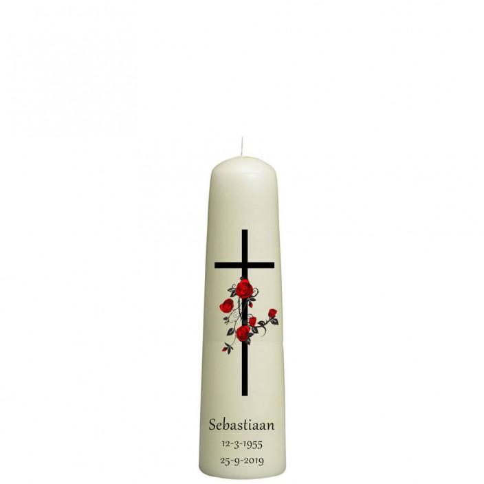 Rouwkaars - kruis met rozenkrans - dompelkaars 70x250